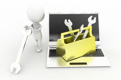3d man laptop repair Royalty Free Stock Images