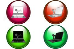 3d man laptop setting icon Stock Images