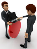 3d man with laptop and shield for security concept Stock Photo