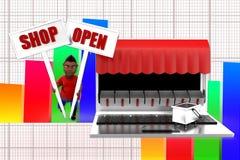3d  Man Laptop Shop Illustration Royalty Free Stock Photo