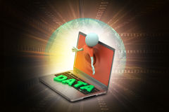 3d man through the laptop showing data Royalty Free Stock Photo