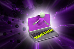 3d man through the laptop showing hosting. In color background Royalty Free Stock Images