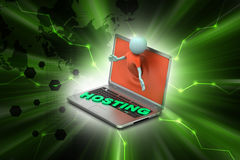 3d man through the laptop showing hosting. In color background Royalty Free Stock Photo