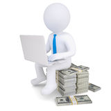 3d man with laptop sitting on a pile of money Royalty Free Stock Image