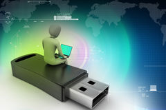 3d man and laptop sitting usb Royalty Free Stock Image