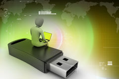 3d man and laptop sitting usb Royalty Free Stock Photo