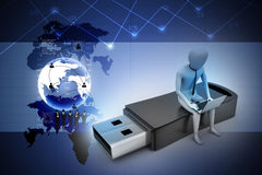3d man and laptop sitting usb Stock Images