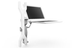 3d man laptop tool concept Stock Images