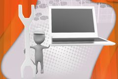 3d man laptop tool illustration Stock Image