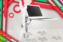 3d man laptop tool illustration Stock Images
