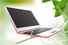 3d man with laptop and usb cable  illustration Royalty Free Stock Photography
