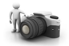 3d man with large digital camera Royalty Free Stock Photo