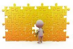 3d man last puzzle piece concept Royalty Free Stock Photo