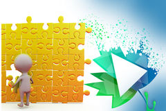 3d man last puzzle piece illustration Stock Photo