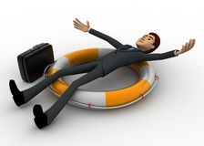 3d man laying over swimming tube concept Royalty Free Stock Images