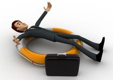3d man laying over swimming tube concept Stock Image
