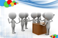 3d man leader of meeting illustration Stock Photography
