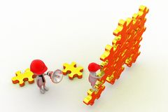 3d man leader puzzle concept Royalty Free Stock Image