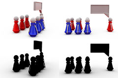 3d man leader speech concept collections with alpha and shadow channel Royalty Free Stock Images