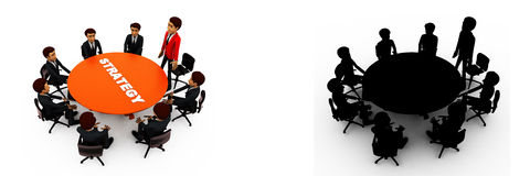 3d man leader of team discuss stratergy  with team menbers in meeting concept collections with alpha and shadow channel Stock Photography