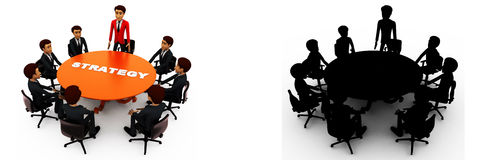 3d man leader of team discuss stratergy  with team menbers in meeting concept collections with alpha and shadow channel Royalty Free Stock Photo