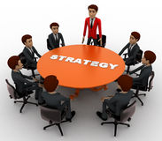 3d man leader of team discuss stratergy  with team menbers in meeting concept Royalty Free Stock Images