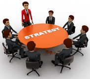 3d man leader of team discuss stratergy  with team menbers in meeting concept Stock Images