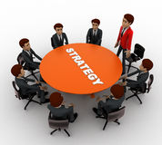 3d man leader of team discuss stratergy  with team menbers in meeting concept Stock Image