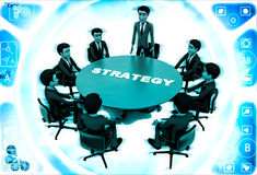 3d man leader of team discuss stratergy  with team menbers in meeting illustration Royalty Free Stock Photo