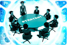 3d man leader of team discuss stratergy  with team menbers in meeting illustration Stock Image