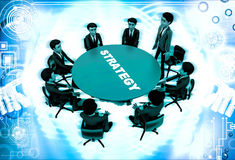 3d man leader of team discuss stratergy  with team menbers in meeting illustration Royalty Free Stock Photography