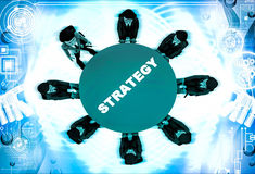 3d man leader of team discuss stratergy  with team menbers in meeting illustration Royalty Free Stock Image