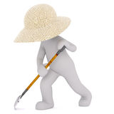 3D man with leaf rake. Cartoon 3D man character of gardener working in straw hat raking leafs, standing isolated on white background Royalty Free Stock Photo
