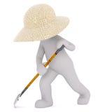 3D man with leaf rake Royalty Free Stock Photo