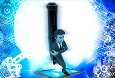 3d man leaning on black pillar illustration Royalty Free Stock Photo