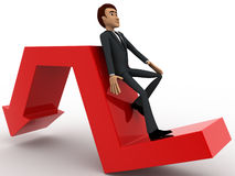 3d man leaning on falling down arrow concept Stock Photos