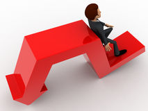 3d man leaning on falling down arrow concept Stock Photo