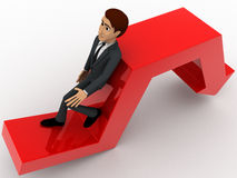 3d man leaning on falling down arrow concept Stock Images