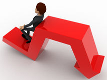 3d man leaning on falling down arrow concept Royalty Free Stock Photos
