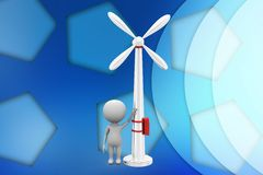 3d Man leaning on a wind turbine illustration Stock Image