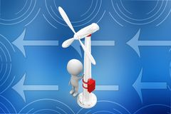 3d Man leaning on a wind turbine illustration Stock Photo