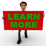 3d man with learn more sign board concept Royalty Free Stock Image