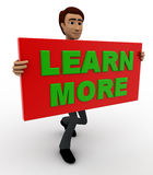 3d man with learn more sign board concept Royalty Free Stock Photography