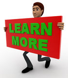 3d man with learn more sign board concept Royalty Free Stock Photos