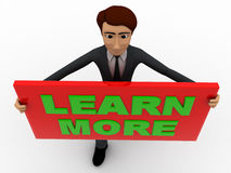 3d man with learn more sign board concept Stock Image
