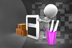 3d man lesson illustration Royalty Free Stock Photography