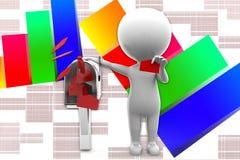 3d Man Letter Message illustration Stock Photos