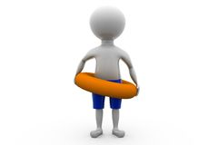 3d man with life preserver concept Stock Image