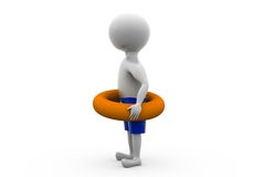 3d man with life preserver concept Royalty Free Stock Images