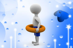 3d man with life preserver  illustration Stock Photos